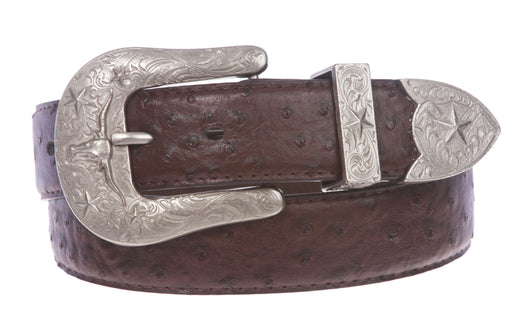 Western Faux Ostrich Print Stitching-Edged Leather Belt