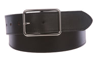 Snap On Cowhide Full Grain Stitching-Edged Leather Belt with Rectangular Buckle