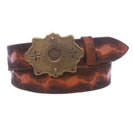 Snap On Floral Embossed Vintage Cowhide Full Grain Leather Belt