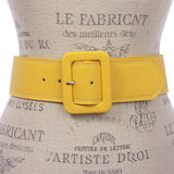 "Women's 2 1/4"" Wide High Waist Rectangular Stitch-edged Leather Belt"