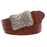"Snap On 1 1/2"" Vintage Full Grain Leather Belt with Rhinestone Flower Buckle"