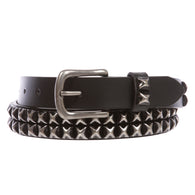 Snap On Two Row Punk Rock Star Distressed Black Studded Leather Belt