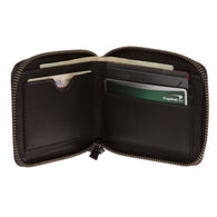 Men's 100% Leather Card & Cash Zipper Wallet Bifold Multi Card Holder Purse