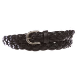 "Women's 7/8""(21mm) Braided Woven skinny Narrow Cowhide Top Full Grain Solid Two Tone Leather Belt"