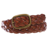"Women's 1 1/4"" Braided Woven Cowhide Top Full Grain Solid Two-Tone 3D Style Vintage Leather Belt"