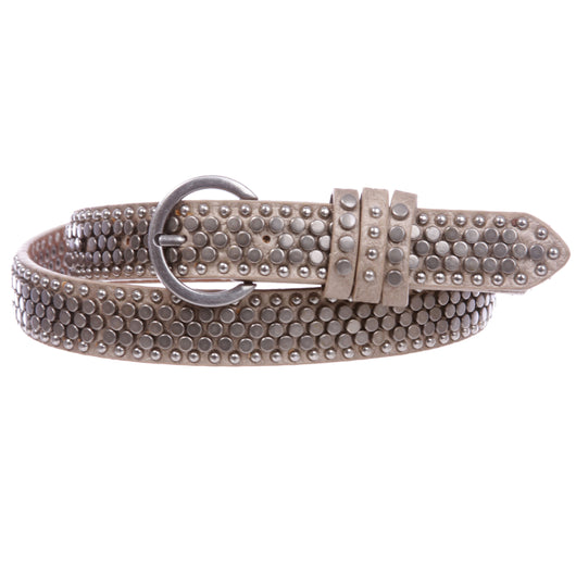 Women's Riveted Nail Heads Round Circle Studded Skinny Leather Jean Belt