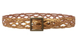 "Women's 1 1/2"" Braided Woven Leather Square Belt"