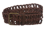 "2"" Wide Braided Leather Link Belt"
