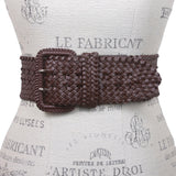 "Women's 3"" Wide Hand Made Braided Square Buckle Belt"
