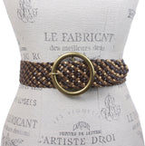 "2"" Wide Braided Leather Belt with Metal Ring Buckle"