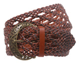 "2 1/2"" Wide Perforated Braided Woven Leather Belt"