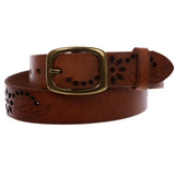 "1-1/4"" Perforated Oval Embossed Casual Vintage Leather Jean Belt"