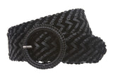 "Women's 2 1/4"" Velvet Braided Woven Non Leather Round Belt"