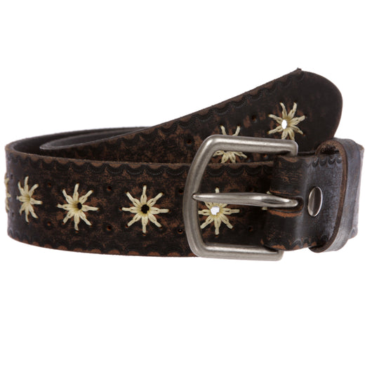 Snap on Embossed Vintage Leather Jean Belt with Interchangeable Antique Silver Buckle