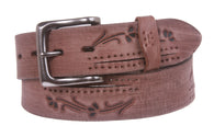 38 mm Snap On Floral Embossed Full Grain Vintage Leather Belt