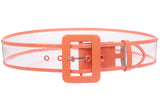 "Women's 2"" Wide Color-Trimmed Patent Leather Transparent Jelly Clear Belt"