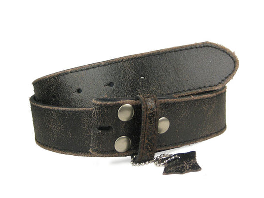 Snap On Vintage Retro Crack Print Stitching-Edged Distressed Leather Belt Strap