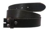 Snap On Genuine Vintage Retro Stitching-Edged Distressed Leather Belt Strap