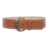 "Womens Wide 2 1/4 "" Stitching Edged Plain High Waist Leather Belt"