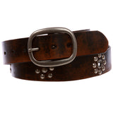 Nail Head Riveted Studs with Grommets Oval Vintage Leather Casual Belt