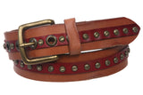 "1 1/2"" Vintage Rivet Studded Cowhide Full Grain Solid Leather Casual Jean Belt"