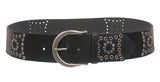 "2 3/8"" Harness Wide Contour Studded Leather  Belt"