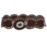 "Women's 3 1/4"" Wide Boho Oval Disc Link Leather Belt"