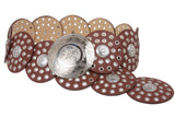 "Women's 3 1/2"" (90 mm) Wide Boho Disc Concho Leather Belt"