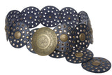 "3 1/2"" (90 mm) Wide Ladies Wide Boho Disc Concho Leather Belt"