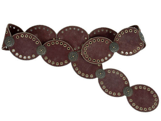 Concho and Grommets Suede Leather Oval Disc Belt with Tiny Metal Ball Chain