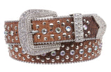 Snap On Western Cowgirl Alligator Rhinestone Studded Leather Belt