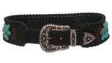 "3"" Wide Western Contoured Laced Alligator Cowgirl Rhinestone Turguoise Leather Belt"