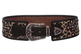 Womens 3 1/2'' Wide Western High Waist Animal Fur Rhinestone Cross Ornaments Contour Belt