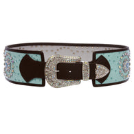 Womens 3 1/2'' Wide Contour High Waist Ostrich Print Western Rhinestone Fashion Belt