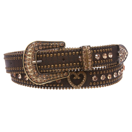 Women's Skinny Western Faux Crocodile Rhinestone Studs Heart Concho Leather Belt