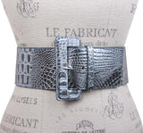 3 Inch Wide High Waist Croco Print Patent Leather Fashion Belt