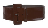 Ladies High Waist Wide Patent Fashion Plain Leather Belt