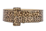 "Ladies 3""  Wide High Waist Leopard Print Faux Patent Leather Belt"