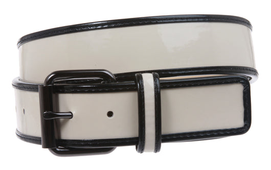 Ladies Trimmed Patent Leather High Waist Fashion Belt