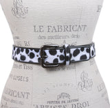 Women's Patent Leather Animal Faux Leopard Fur Fashion Belt