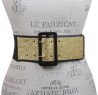 Ladies High Waist Patent Leather Trimmed Edge Glittering Fashion Stretch Belt