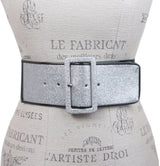 Ladies High Waist Patent Leather Piping Edged Glittering Fashion Stretch Belt