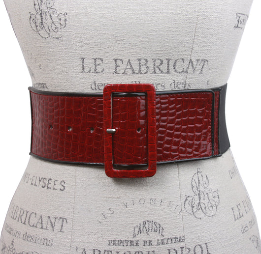 Ladies High Waist Piping Edge Croco Print Patent Leather Fashion Stretch Belt