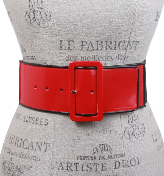 Ladies High Waist Piping Edge Patent Leather Fashion Stretch Belt