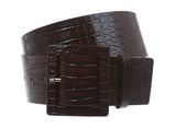 "2 1/4"" Wide Ladies High Waist Faux Crocodile Print Patent Leather Fashion Belt"