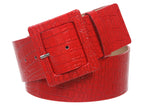 "2 1/4"" Wide Ladies High Waist Croco Print Patent Leather Fashion Belt"
