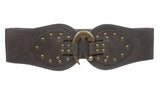 "Women's 4"" Wide High Waist Elastic Stretchy Studded Hook Belt"