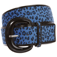 Ladies Patent Leather Faux Leopard Animal Fur Fashion Belt