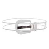 Women's Fancy Buckle Color-Trimmed Patent Leather Wide Fashion Jelly Clear Belt