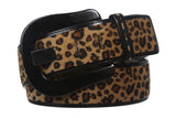 "Womens 1 7/8"" Wide High Waist Patent Leather Leopard Print Animal Fur Belt"